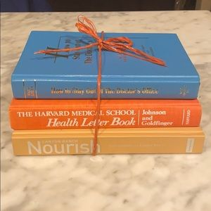 Decorative books with healthy living theme